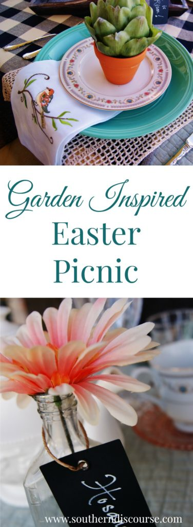 The real meaning of Easter stands out in the tablescape of this garden-inspired Easter/spring picnic.