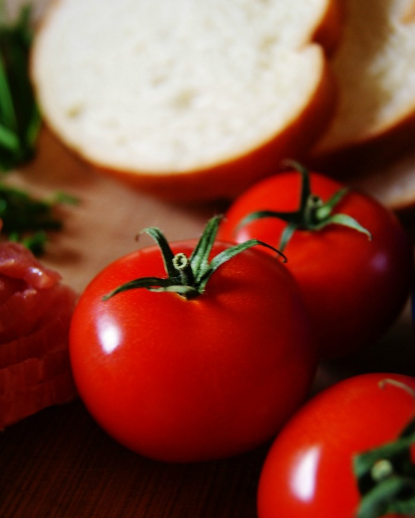 Upclose of ripe, red tomatoes with green stems and leaves and sliced sour dough bread in the back ground.