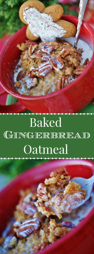 Topped with pecans, gingersnaps, and drizzled with cream, this gingerbread baked oatmeal is a wonderful crockpot recipe.  Completely indulgent, it fills your home with Christmas spices while you sleep and provides an amazing Christmas breakfast when you wake!.