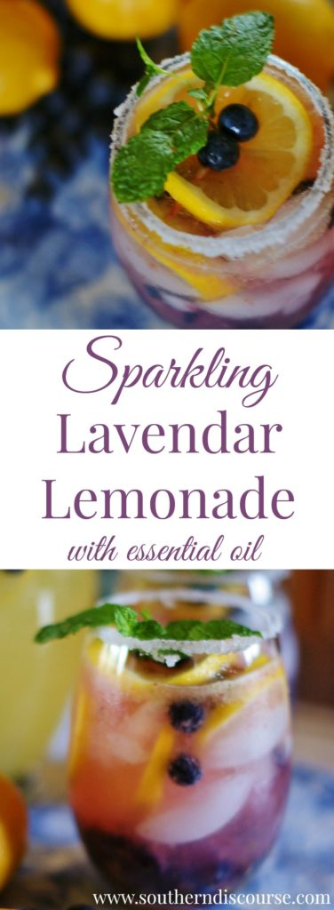 A gorgeous sparkling lavender lemonade recipe using lavender essential oil. Plus a how-to for a garnish that makes it oh, so special!