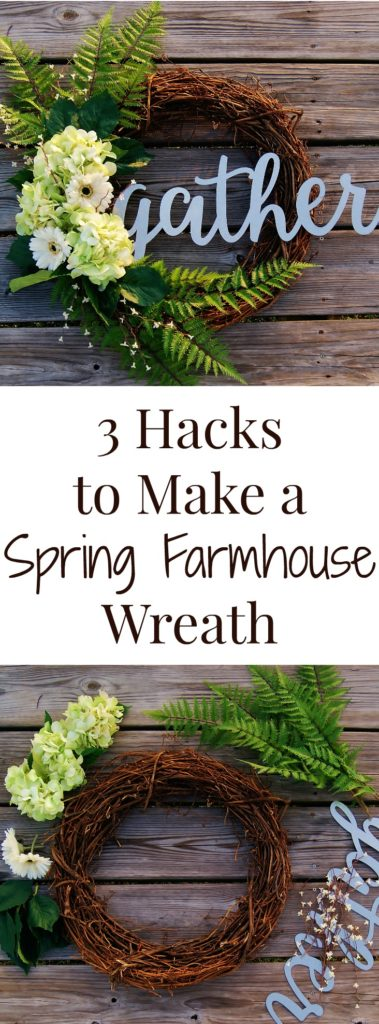 An easy how to for making your own farmhouse style wreath for spring!