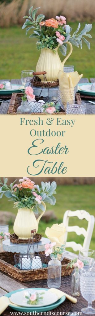 A fresh & easy outdoor Easter table setting, full of vintage southern charm and perfect for that treasured family meal that's just around the corner.