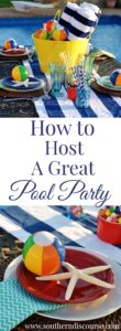 5 tips for hosting a summer pool party, plus a pool-themed table to set the tone!
