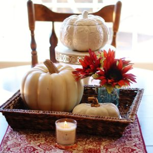 A simple centerpiece composed of some of your fall favorites is a must for any fall decor.