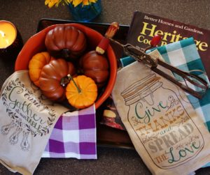 Seasonal tea towels and dish towels are easy ways to add a bit of fall decor to your kitchen.