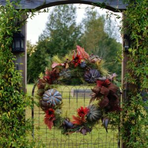 Wreaths on garden gates, front doors, and even back doors are a great way to say you are ready for fall.