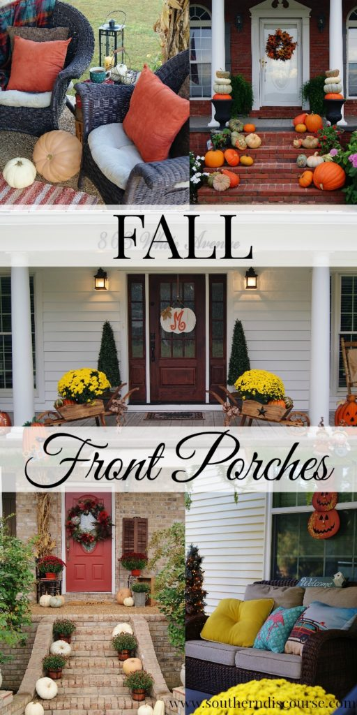 11 fall porch decor inspirations! Featuring 8 blogger fall porches and 3 fall porches by our readers! Warm and cozy, fun and festive these rustic cottage-style fall porch ideas will have you grabbing pumpkins and mums and heading for your front porch!