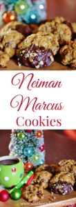 Packed with chocolate chips, chocolate chunks, oatmeal, and pecans, Neiman Marcus cookies are a southern classic that serve as perfect Christmas cookies. If you are a chocolate chip cookie lover, this indulgent recipe is for you!
