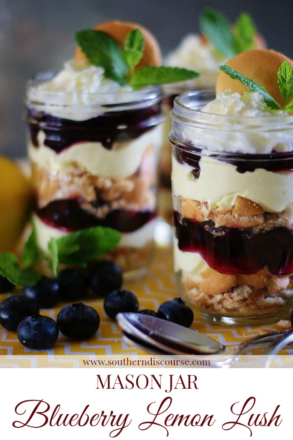 Mason Jar Blueberry Lemon Lush Desserts are the perfect no-bake summer dessert. #layereddessert #dessertparfait #summerdessert #blueberrylemon #masonjar #picnic