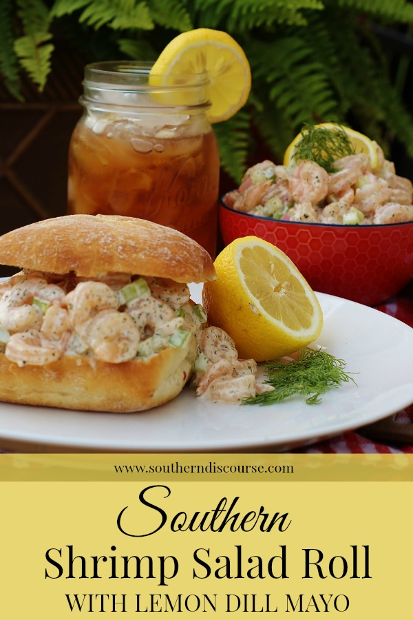 Need easy recipes for quick summer lunches and dinners? New England lobster rolls have nothing on this Southern Shrimp Salad sandwich with lemon & dill mayo. #seafood #shrimproll #lobsterroll #sandwiches #easymeals #summermeals #southernfood